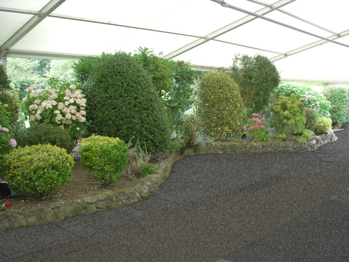 marquee incorporated into garden features